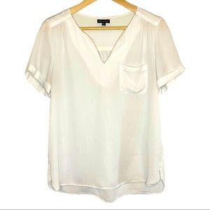 Shine star semi-sheer v-neck short sleeve blouse